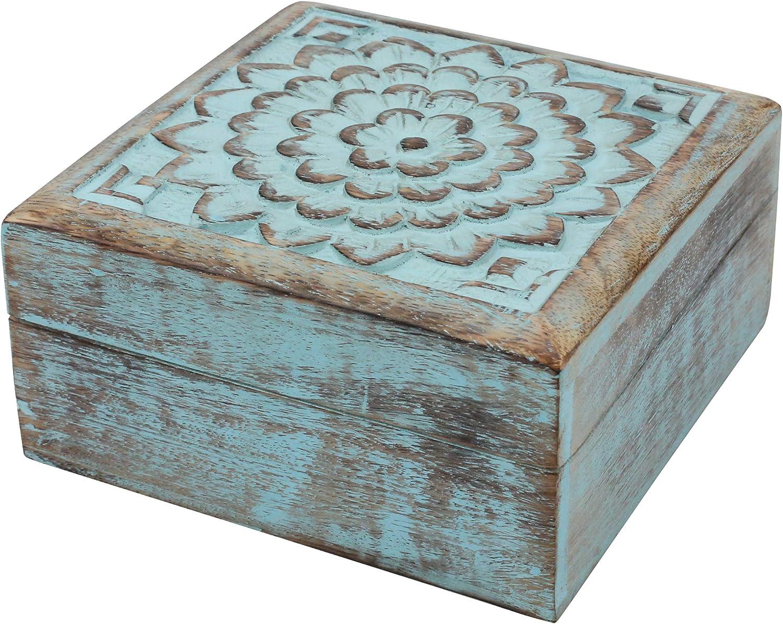 Stonebriar Vintage Memphis Mall Worn Blue Floral with Hin Wooden mart Keepsake Box