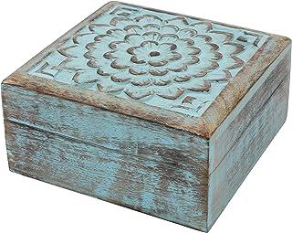 Stonebriar Vintage Worn Blue Floral Wooden Keepsake Box with Hinged Lid, Storage for Trinkets and Memorabilia, Decorative ...