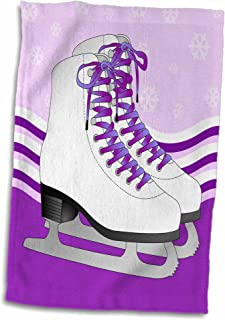 3D Rose Pair of Purple Ice Skates On Snowflake Background Hand/Sports Towel 15 x 22
