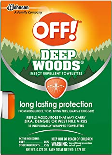 Off Deep Woods Insect Repellent Wipes Towelettes | Best Deet Formula | Safely Repel Flying Insects Bugs Gnats Mosquitoes |...