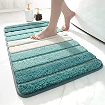 """DEXI Bath Mat for Bathroom Absorbent Rug Non-Slip Low Profile Shower Tub Mats 16""""x24"""",Turquoise"""
