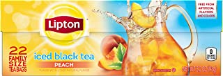 Lipton Family Black Iced Tea Bags Peach 22 count, pack of 6