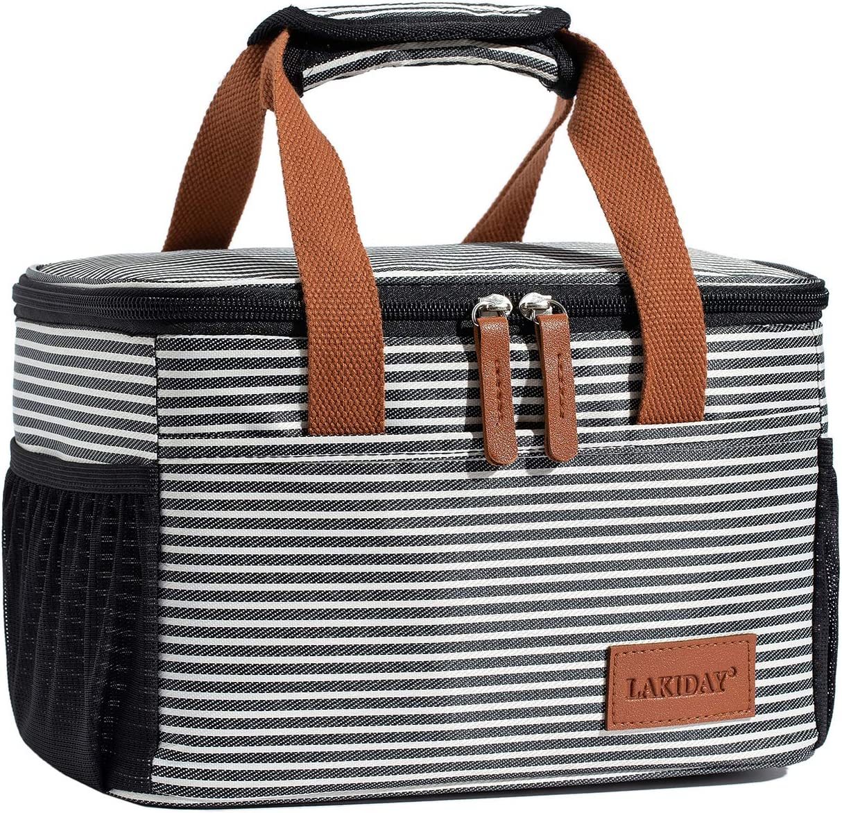LAKIDAY Insulated Lunch Bag for Women/Kids Cooler Bag Lunch Tote Box Container Leakproof for WorkOutdoor(Black White Strip-1)