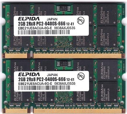 日本ELPIDA社製4GBパワーセット A2/N800-2GX2互換相当品 PC2-6400 800MHz 200Pin用 DDR2 S.ODIMM 2枚組 for Mac 【バルク品】