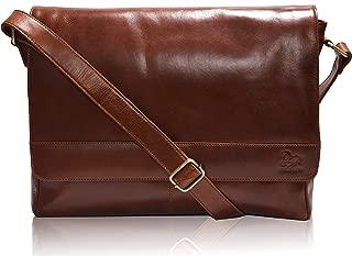Messenger Bag Brown Genuine Leather - Multi-Pocket 14 Inch Laptop Bag for Men and Women, Handmade Office Briefcase with Foam Padding and Adjustable Shoulder Strap
