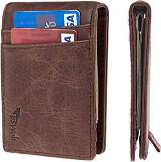 BSWolf Mens RFID Blocking Front Pocket Minimalist Slim Genuine Leather Wallet Pull Tab Money Clip