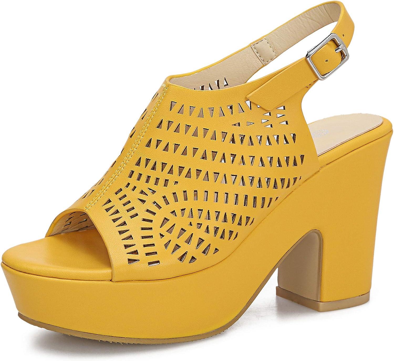 Women's Platforms Wedges Heeled Sandals Hollow Open toe Ankle Strap Dress Sexy Wedding Block Chunky High Heels Pumps