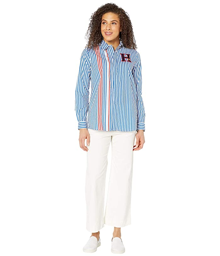Tommy Hilfiger Adaptive  Stripe Shirt with Magnetic Buttons (Olympian Blue/Multi) Womens Clothing