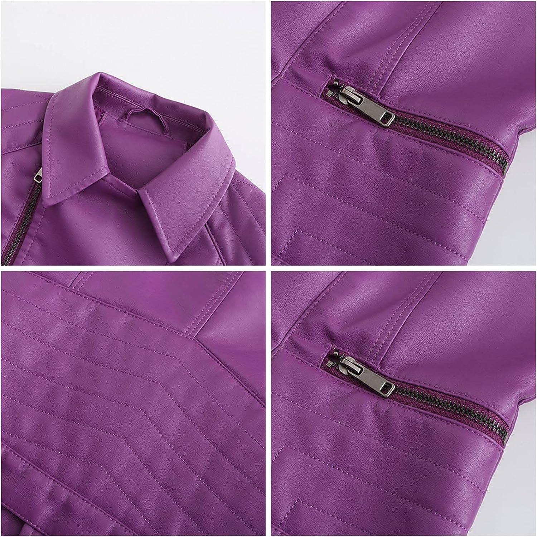 Women's Faux Leather Jacket Zipper Front Casual PU Leather Slim Fit Jacket Long Sleeve Moto Biker Coat Jacket with Pocket