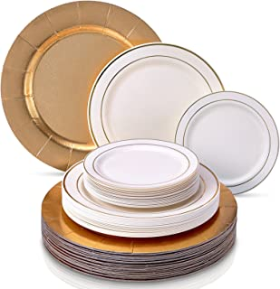 MODERN ELEGANT DISPOSABLE 60 PC DINNERWARE SET | Heavy Duty Plastic Dishes | 20 Chargers | 20 Dinner Plates | 20 Salad Plates | for Upscale Wedding and Dining | Silver Glare Collection (Ivory/Gold)