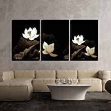wall26-3 Piece Canvas Wall Art - Abstract of Brown Lotus for Background Used - Modern Home Decor Stretched and Framed Ready to Hang - 24