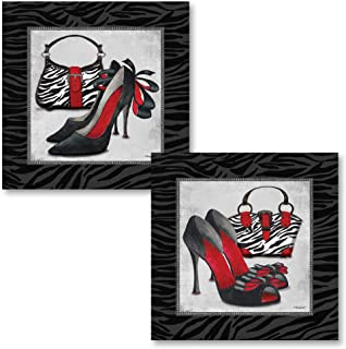 Gango Home Decor Exotic Zebra Print; Fun Popular Trendy Purse and High-Heel Set; Two 12x12in Poster Prints. Black/REd