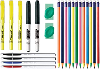 BIC KSE23EC-AST Student Kit, Assorted Stationery Essentials, 23-Count