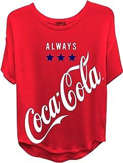 Ladies Coca Cola Fashion Shirt - Coke Classic Logo Wrap Curved Hem Tee