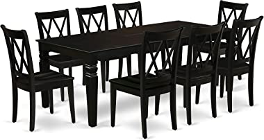 """9Pc Rectangle 66/84"""" Dining Table With 18 In Leaf And 8 Wood Seat Dining Chairs"""