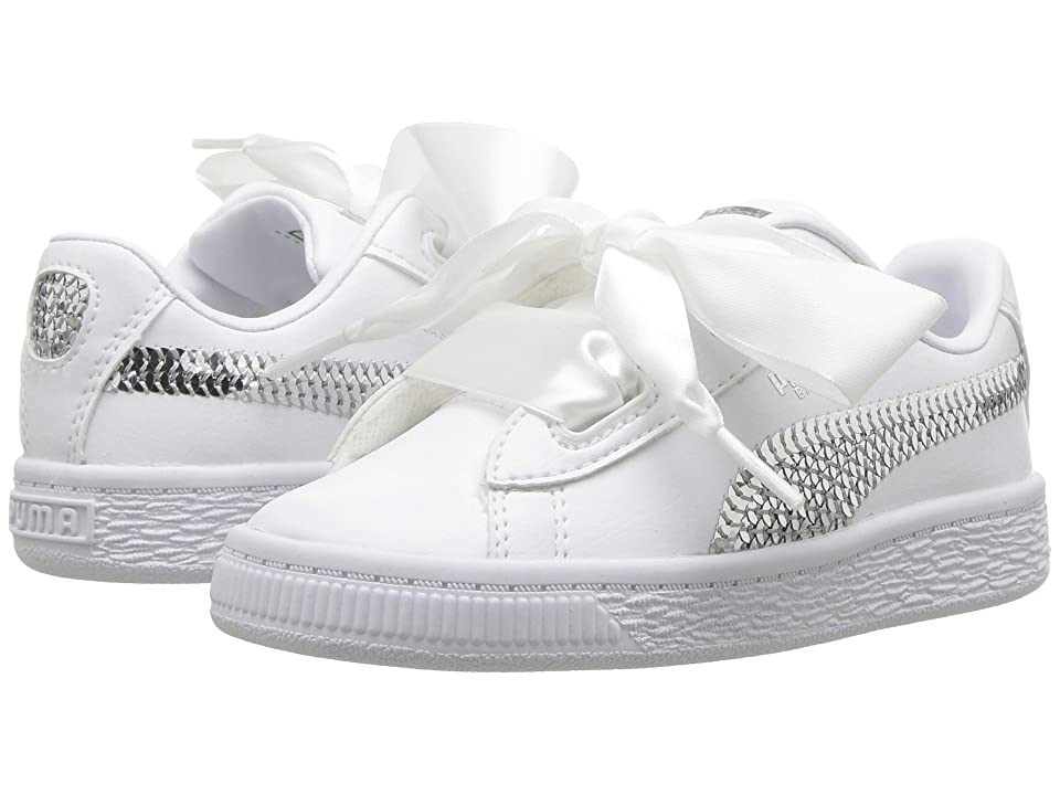 Puma Kids Basket Heart Bling INF (Toddler) (Puma White/Puma Silver) Girl