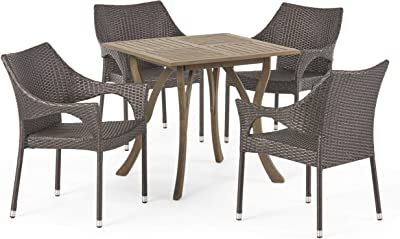 Christopher Knight Home 305218 Colin Outdoor 5 Piece Wood and Wicker Square Dining Set, Gray