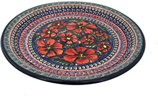 Polish Pottery Dinner Plate 11-inch Poppies UNIKAT
