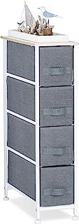 Relaxdays Cajonera Multiusos con 4 Cajones Metal-Tela Gris 76 x 20 x 48 cm
