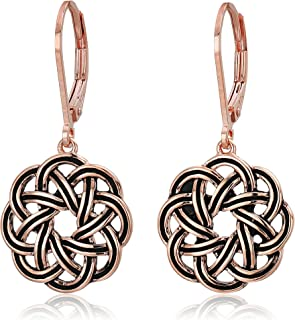 Sterling Silver Celtic Knot Lever-Back Drop Earrings