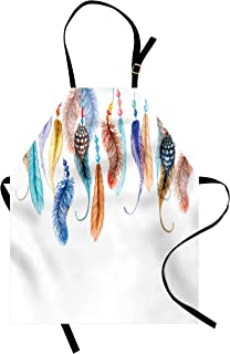 Lunarable Hippie Apron, Primitive Hippie with South Western Dove Eagle Hawk Raven Bird Feathers Artwork, Unisex Kitchen Bib with Adjustable Neck for Cooking Gardening, Adult Size, Blue