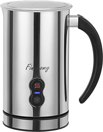 Finnhomy Automatic Electric Milk Frother & Heater 250ml with Hot or Cold Function,  Stainless Steel Non-Stick Interior,  Milk Steamer Foamer & Warmer,  FDA Certified,  BPA free Cappuccino Maker