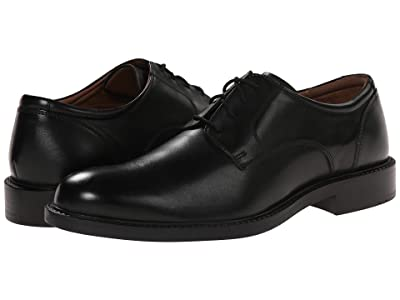 Johnston & Murphy Tabor Dress Plain Toe Oxford (Black Calfskin) Men