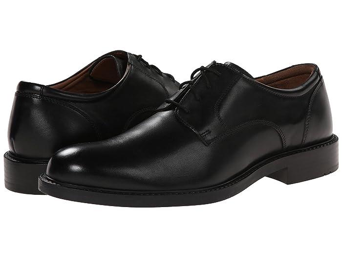 Johnston and Murphy  Tabor Dress Plain Toe Oxford (Black Calfskin) Mens Plain Toe Shoes