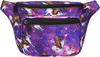 Fanny Pack [80's Style] Waist Pack Outdoor Travel Crossbody Hip Bag (Cats & Unicorns)