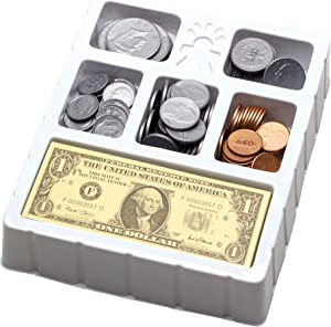Educational Insights Play Money Coins & Bills Tray, Set of 200 Pieces of Play Money for Classroom or Home, Counting Skills & Pretend Play, Ages 5+