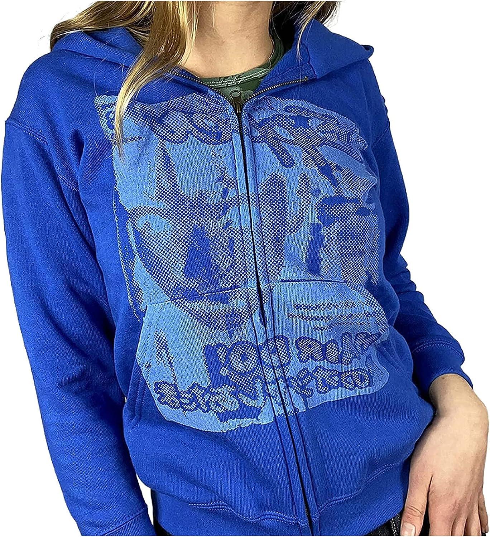 Women's Zip Up Hoodies Casual Loose Graphic Printed Long Sleeve Hoodie Sweatshirt with Pockets