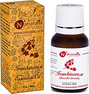 Naturalis Essence of Nature Frankincense Essential Oil, 100% Pure, Natural & Undiluted Therapeutic Grade for Skin Pores Tightening, Fine Lines and Aromatherapy - 15ml
