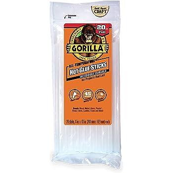"Gorilla Hot Glue Sticks, Full Size, 8"" Long x .43"" Diameter, 20 Count, Clear, (Pack of 1)"