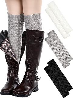 3 Pairs Women Cable Knit Leg Warmers Winter Knee High Crochet Sleeve Leg Warmers Long Socks