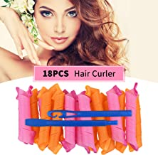 Magic Hair Curlers Spiral Curls Styling Kit,18 PCS No Heat Wave Hair Curlers DIY Hair Rollers Wave Styles with 2 Styling H...