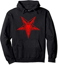 Pentagram with Baphomet Goat Head Satanic Black Star Pullover Hoodie