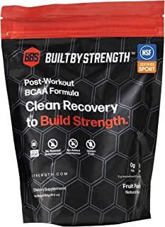 BuiltByStrength Post Workout Recovery Drink - NSF Certified Pure BCAA, Creatine and Glutamine Fruit Punch Blend - Tastes Great, Dissolves Completely and Easily With No Gritty After Taste (30 Servings)