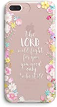 iPhone 7 Plus Case,iPhone 8 Plus Case for Girls,Christian Bible Verses Inspirational Floral Flowers Exodus 14:14 Lord Will Fight for You Be Still Vintage Rose Soft Clear Case for iPhone 7plus/8plus