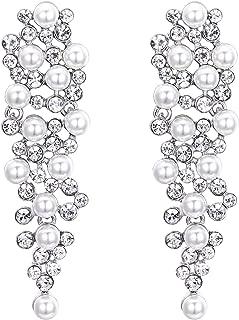 Women's Wedding Bridal Crystal Simulated Pearl Multi Beaded Cluster Chandelier Dangle Earrings