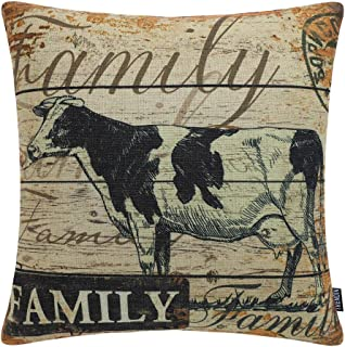 TRENDIN Square Pillow Cover - 18 X 18 Inch Decorative Throw Pillowcase, Farmhouse Family Cow PL227TR