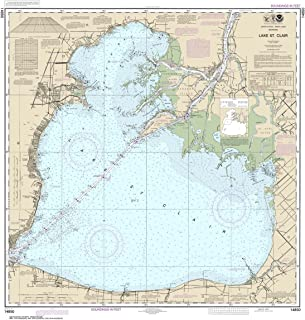 Paradise Cay Publications NOAA Chart 14850: Lake St. Clair 34.8 x 32.8 (TRADITIONAL PAPER)