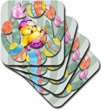 3dRose cst_167131_1 Cute Easter Chick and Eggs All Decorated Around Pretty Tulips-Soft Coasters, Set of 4
