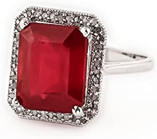 Galaxy Gold 18K Solid White Gold Emerald Cut Octagon Shape Natural Ruby Diamond Halo Design with Natural Diamond Ring 7.45 Ct Anniversary Promise Engagement Ring Sizeable
