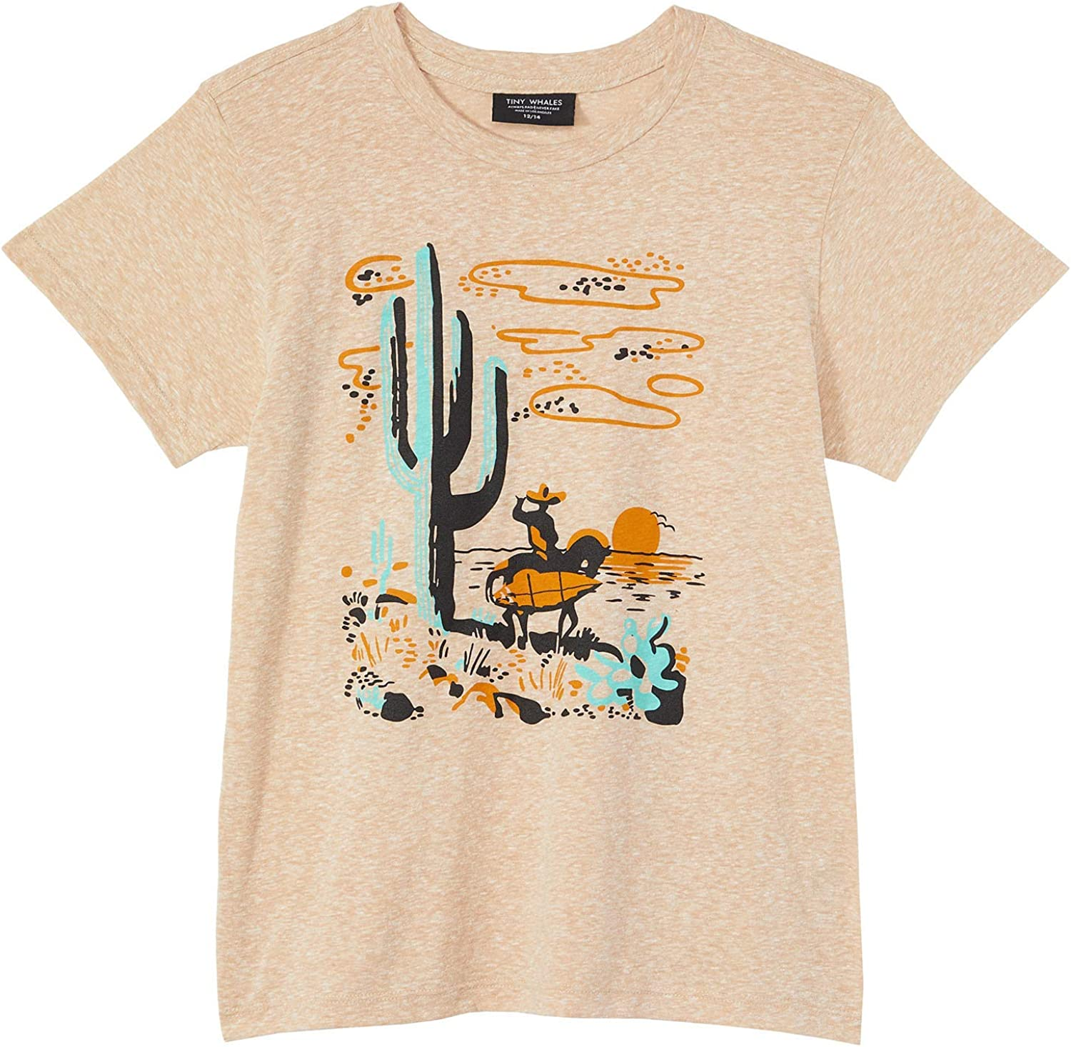Tiny Whales Boy's in Search for Surf/Surfer in Desert Graphic Tee (Toddler/Little Kids/Big Kids)
