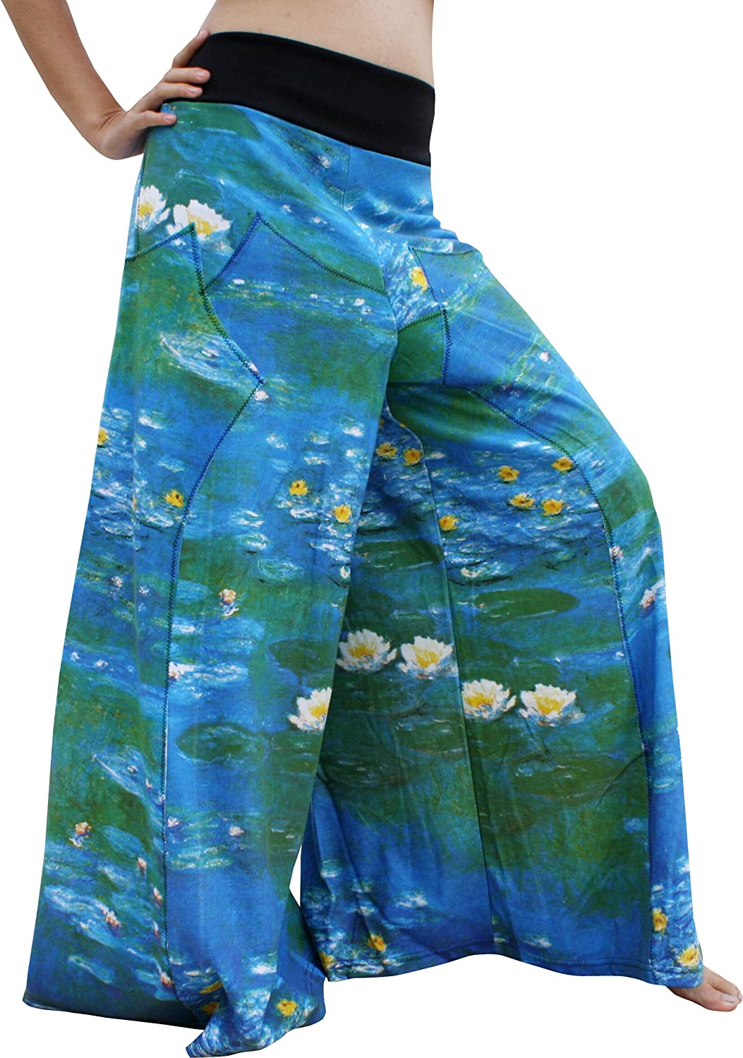RaanPahMuang Water Lilies Fine Art Claude Monet - Wide Leg Pants