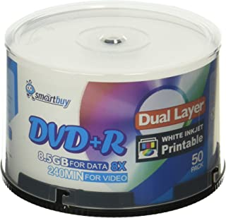 Smart Buy 50 Pack DVD+r Dl 8.5gb 8X DVD Plus R Double Layer Printable White Inkjet Blank Data Recordable Media 50 Discs Sp...