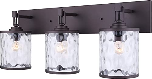 2021 Canarm wholesale Cala 3 Light Vanity Light with Watermark online sale Glass - Oil Rubbed Bronze - Easy Connect Included outlet sale