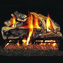 Peterson Real Fyre 24-inch Charred Rugged Split Oak Gas Log Set Vented Natural Gas ANSI Certified G46 Burner - Manual Safety Pilot