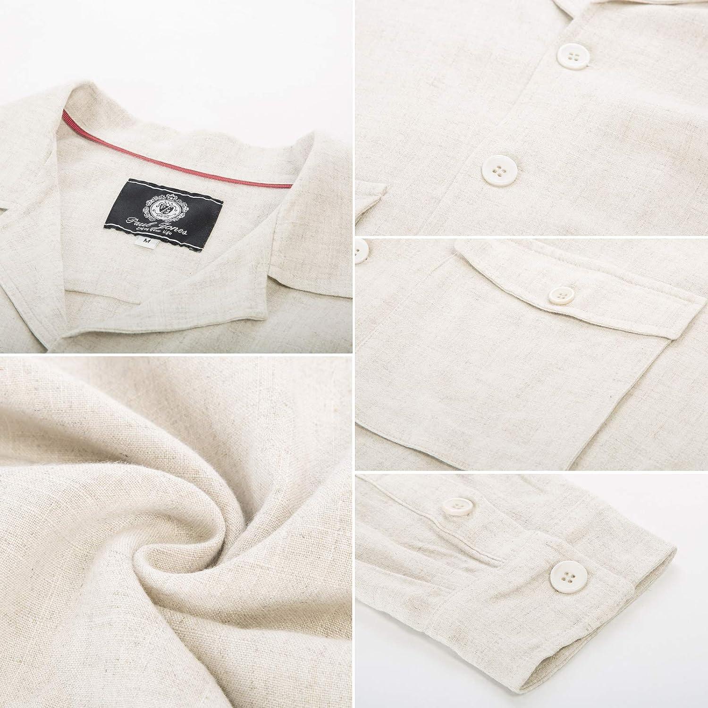 PJ Paul Jones Men's Lightweight Linen Jacket Camp Collar 5 Button Safari Jacket