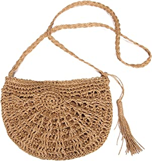 Straw Crossbody Bag, JOSEKO Women Weave Rattan Shoulder Bag Summer Beach Round Wicker Purse for Travel Everyday Use